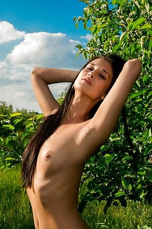 Masturbating cutie with a fruit basket