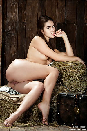 Beautiful naked babe on dry hay stacks