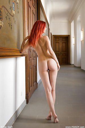 A redhead that has large tits is in a gallery