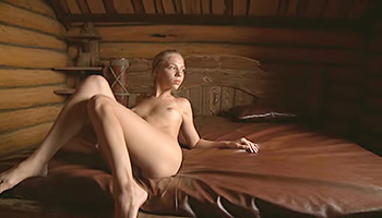 Yummy blonde takes a hot shower