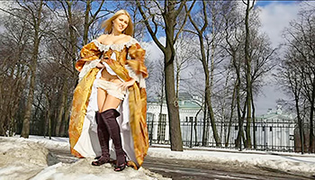 Blonde Russian princess gets naked