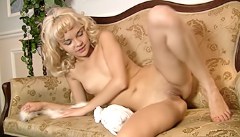 Petite blonde babe lets sexually loose