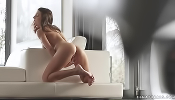 Very skinny babe is masturbating at home