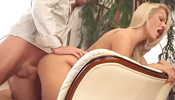 Tanned blonde gets a hard ride