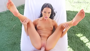 Dark haired beauty is having wild sex