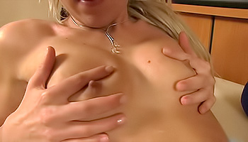Pint sized blonde twirls her sensitive clit