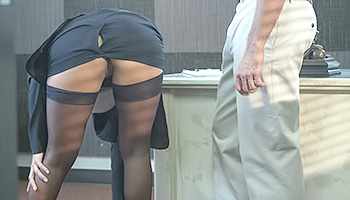 Naughty secretary gets slammed by security