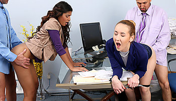 Awesome office orgy with Gigi Flamez and Katalina Mills