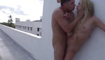 Skinny blonde anal fucked on the roof