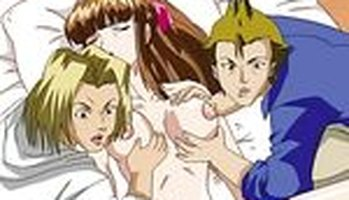 Hentai threesome with bad girls who love hard cocks