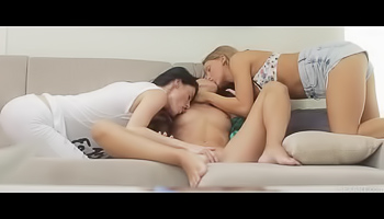 Hot lesbians are having a steamy threesome
