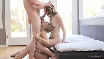 Two girls are fucking one horny guy