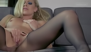 Small titted blonde is masturbating all day